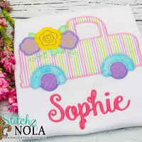 Personalized Floral Truck Applique Shirt