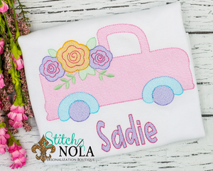 Personalized Spring Truck with Flowers Sketch Shirt