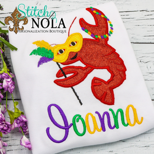 Personalized Mardi Gras Dancing Crawfish Applique Shirt