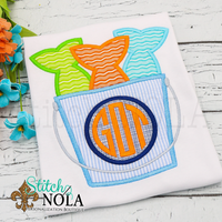 Personalized Fish Bucket with Monogram Applique Shirt