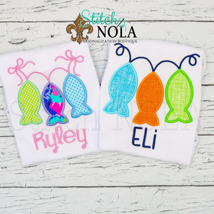 Personalized Fish Trio on a Line Applique Shirt