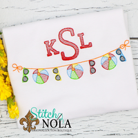 Personalized Summer Beach Ball & Sunglasses Banner with Monogram Sketch Shirt
