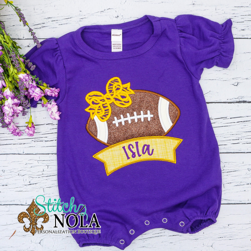 Personalized Purple and Gold Football with Banner Colored Garment