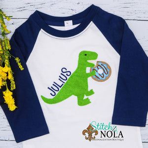 Personalized Birthday Dinosaur Eating Donut Appliqué Shirt