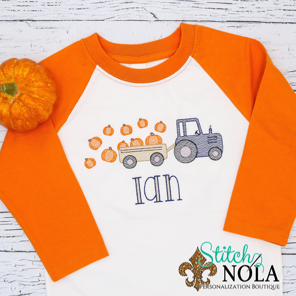 Personalized Pumpkin Tractor Sketch Shirt