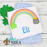 Personalized St. Patrick's Day Rainbow with Pot of Gold Sketch Shirt