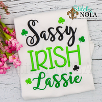 Personalized St. Patrick's Day Sassy Irish Lassie Sketch Shirt