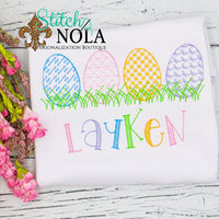 Personalized Vintage Easter Eggs in Grass Sketch Shirt
