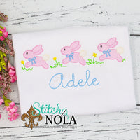 Personalized Vintage Easter Bunnies Trio Sketch Shirt