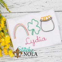 Personalized St. Patrick's Day Rainbow, Clover, & Pot of Gold Trio Sketch Shirt
