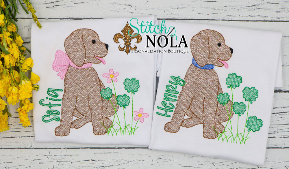 Personalized St. Patrick's Day Puppy with Clovers Sketch Shirt