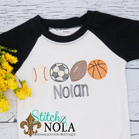 Personalized Sports Balls Sketch Shirt
