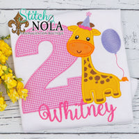 Personalized Birthday Giraffe with Balloon Appliqué Shirt