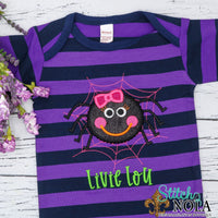 Personalized Halloween Spider With Web Applique on Colored Garment