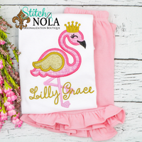 Personalized Flamingo with Crown Applique Shirt