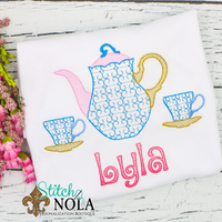 Personalized Tea Pot & Tea Cups Sketch Shirt
