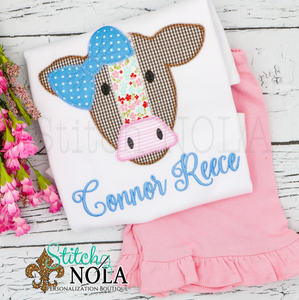 Personalized Cow with Bow Applique Shirt