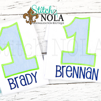 Personalized Birthday Seersucker Appliqué Shirt