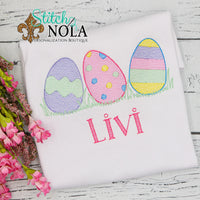 Personalized Easter Egg Trio in Grass Sketch Shirt