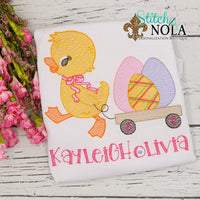 Personalized Easter Chick Pulling Eggs in Wagon Sketch Shirt