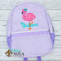 Personalized Seersucker Backpack with Flamingo Applique, Seersucker Diaper Bag, Seersucker School Bag, Seersucker Bag, Diaper Bag, School Bag, Book