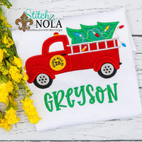 Personalized Christmas Firetruck with Tree Applique Shirt