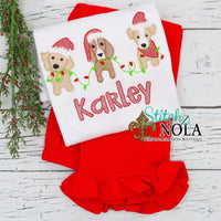 Personalized Christmas Puppy Trio Sketch Shirt