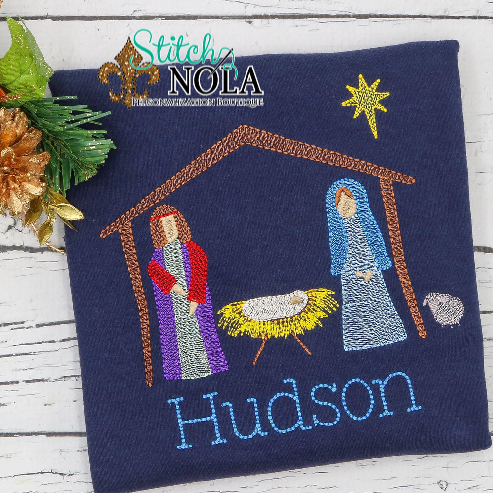 Personalized Christmas Jesus in Manger Sketch Shirt Colored Garment