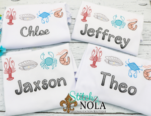 Personalized Seafood Sketch Shirt