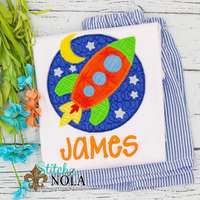 Personalized Rocket in Circle Applique Shirt
