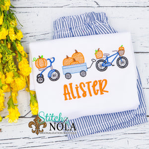 Personalized Pumpkin Parade Bow Sketch Shirt