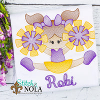 Personalized Purple and Gold Cheerleader Sketch Shirt