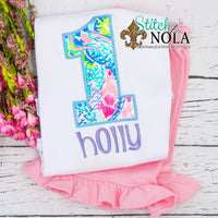 Personalized Tropical Birthday Appliqué Shirt