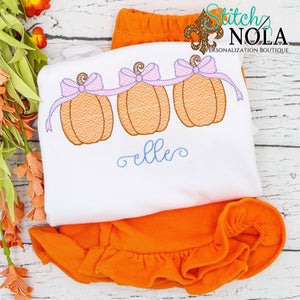 Personalized Pumpkin Trio with Bows Sketch Shirt