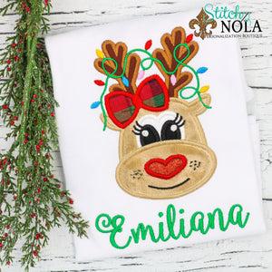 Personalized Christmas Reindeer with Heart Nose & Lights Applique Shirt