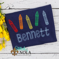 Personalized Back To School Crayons Sketch on Colored Garment