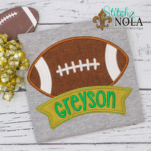 Personalized Football With Banner Applique Colored Garment