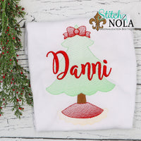 Personalized Christmas Tree Sketch Shirt
