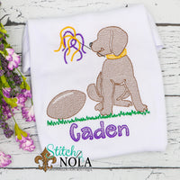 Personalized Purple and Gold Football Dog Sketch Shirt