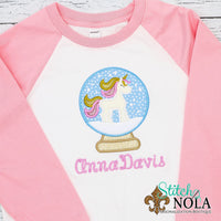 Personalized Christmas Unicorn in Snow Globe Applique Shirt