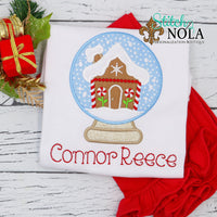 Personalized Christmas Gingerbread House in Snow Globe Applique Shirt