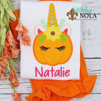 Personalized Unicorn Pumpkin Applique Shirt