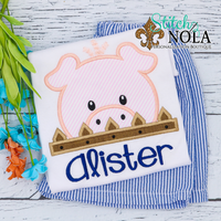 Personalized Peeker Pig Applique Shirt