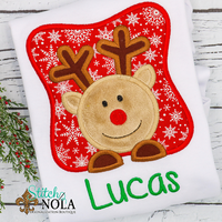 Personalized Christmas Reindeer in Box Applique Shirt