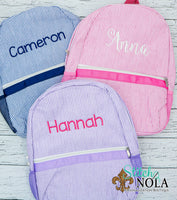 Personalized Seersucker Backpack with Name or Monogram, Seersucker Diaper Bag, Seersucker School Bag, Seersucker Bag, Diaper Bag, School Bag, Book