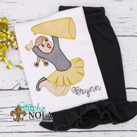 Personalized Black and Gold Cheerleader Sketch Shirt