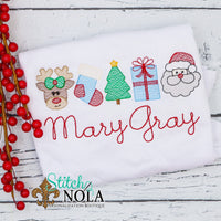 Personalized Christmas Reindeer Stocking Tree Present & Santa  Sketch Shirt