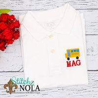 Personalized Back To School Collared Shirt with School Bus