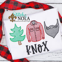 Personalized Christmas Lumberjack Trio Sketch Shirt