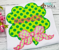 Personalized St. Patrick's Day Clover with Bow Appliqué Shirt